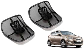 Riderscart Black Mesh Front Seat Premium Quality Back Rest Back Rest with Mesh Support Posture Support & Lumbar Support Pillow;Back Pain Support Cushion Seating Pad For Hyundai Elite i20 Car