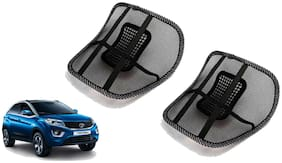 Riderscart Black Mesh Front Seat Premium Quality Back Rest Back Rest with Mesh Support Posture Support & Lumbar Support Pillow;Back Pain Support Cushion Seating Pad For Tata Nexon Car
