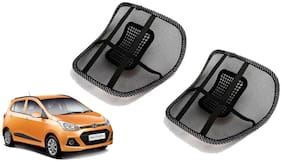 Riderscart Black Mesh Front Seat Premium Quality Back Rest Back Rest with Mesh Support Posture Support & Lumbar Support Pillow;Back Pain Support Cushion Seating Pad For Hyundai Grand i10 Car