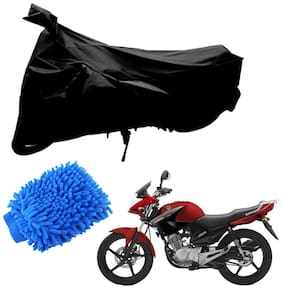 Riderscart Black T 190 Two Wheeler Bike Cover With Microfiber Dusting Glove Combo For Yamaha YBR