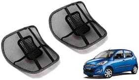 Riderscart Black Mesh Front Seat Premium Quality Back Rest Back Rest with Mesh Support Posture Support & Lumbar Support Pillow;Back Pain Support Cushion Seating Pad For Hyundai i10 Active Car