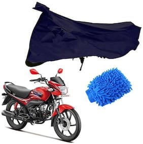 Riderscart Blue T 190 Two Wheeler Bike Cover With Microfiber Dusting Glove Combo For Hero Passion Pro