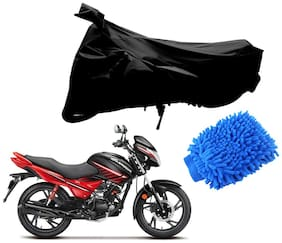 Riderscart Black T 190 Two Wheeler Bike Cover With Microfiber Dusting Glove Combo For Hero Glamour