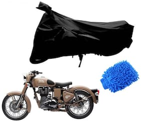 Riderscart Black T 190 Two Wheeler Bike Cover With Microfiber Dusting Glove Combo For Royal Enfield Classic Dessert Storm