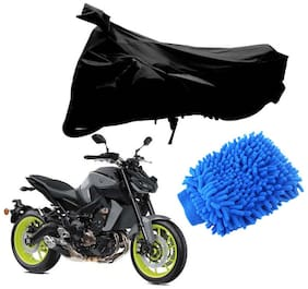 Riderscart Black T 190 Two Wheeler Bike Cover With Microfiber Dusting Glove Combo For Yamaha MT-09