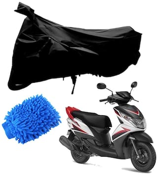 Riderscart Black T 190 Two Wheeler Bike Cover With Microfiber Dusting Glove Combo For Yamaha Ray Z
