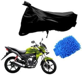 Riderscart Black T 190 Two Wheeler Bike Cover With Microfiber Dusting Glove Combo For Honda CB Twister
