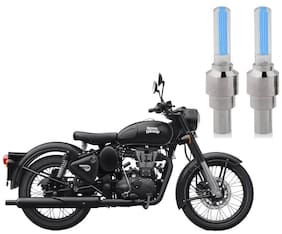 Riderscart Blue Bike Tyre LED Light Wth Motion Sensor Tyre Light Blue Fancy Light Tail Light Plastic for Royal Enfield Classic Stealth Black Bike