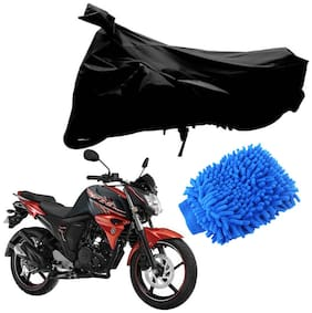 Riderscart Black T 190 Two Wheeler Bike Cover With Microfiber Dusting Glove Combo For Yamaha FZS 2.0