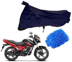 Riderscart Blue T 190 Two Wheeler Bike Cover With Microfiber Dusting Glove Combo For Hero Glamour
