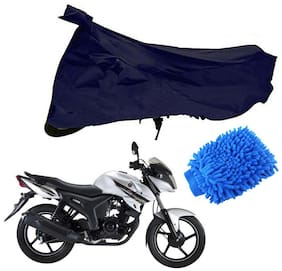 Riderscart Blue T 190 Two Wheeler Bike Cover With Microfiber Dusting Glove Combo For Yamaha SZ