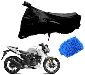 Riderscart Black T 190 Two Wheeler Bike Cover With Microfiber Dusting Glove Combo For Tvs Apache 200