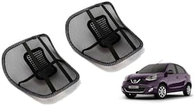 Riderscart Black Mesh Front Seat Premium Quality Back Rest Back Rest with Mesh Support Posture Support & Lumbar Support Pillow;Back Pain Support Cushion Seating Pad For Nissan Micra Car