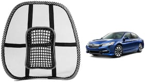 Riderscart Black Mesh Front Seat Premium Quality Back Rest Back Rest with Mesh Support Posture Support & Lumbar Support Pillow;Back Pain Support Cushion Seating Pad For Honda Accord Car (Pack of 1)