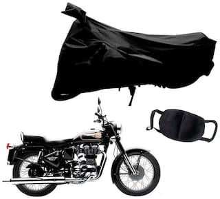 Riderscart Black T 190 Two Wheeler Bike Cover With Unisex Cotton Anti Pollution Mask For Royal Enfield Bullet 350
