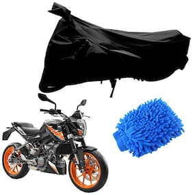 Riderscart Black T 190 Two Wheeler Bike Cover With Microfiber Dusting Glove Combo For Ktm Duke 200