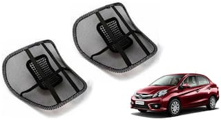 Riderscart Black Mesh Front Seat Premium Quality Back Rest Back Rest with Mesh Support Posture Support & Lumbar Support Pillow;Back Pain Support Cushion Seating Pad For Honda Amaze Car