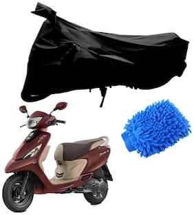Riderscart Black T 190 Two Wheeler Bike Cover With Microfiber Dusting Glove Combo For Tvs Zest