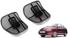 Riderscart Black Mesh Front Seat Premium Quality Back Rest Back Rest with Mesh Support Posture Support & Lumbar Support Pillow;Back Pain Support Cushion Seating Pad For Tata Indigo CS Car