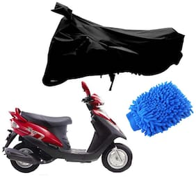 Riderscart Black T 190 Two Wheeler Bike Cover With Microfiber Dusting Glove Combo For Yamaha Flyte