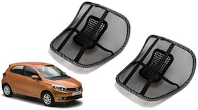 Riderscart Black Mesh Front Seat Premium Quality Back Rest Back Rest with Mesh Support Posture Support & Lumbar Support Pillow;Back Pain Support Cushion Seating Pad For Tata Tiago Car