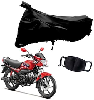 Riderscart Black T 190 Two Wheeler Bike Cover With Unisex Cotton Anti Pollution Mask For Hero Passion Pro