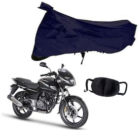 Riderscart Blue T 190 Two Wheeler Bike Cover With Unisex Cotton Anti Pollution Mask For Bajaj Pulsar 180