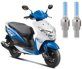 Riderscart Blue Bike Tyre LED Light Wth Motion Sensor Tyre Light Blue Fancy Light Tail Light Plastic for Honda Dio Bike