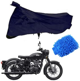 Riderscart Blue T 190 Two Wheeler Bike Cover With Microfiber Dusting Glove Combo For Royal Enfield Classic Chrome