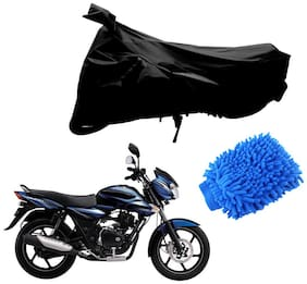 Riderscart Black T 190 Two Wheeler Bike Cover With Microfiber Dusting Glove Combo For Bajaj Discover 100