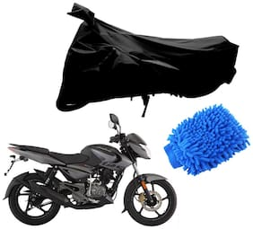 Riderscart Black T 190 Two Wheeler Bike Cover With Microfiber Dusting Glove Combo For Bajaj Pulsar 125