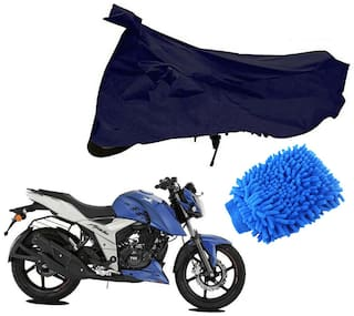 Riderscart Blue T 190 Two Wheeler Bike Cover With Microfiber Dusting Glove Combo For Tvs Apache 160