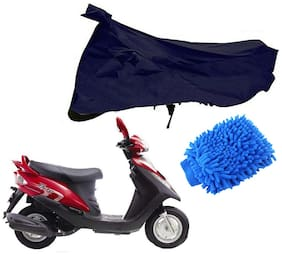 Riderscart Blue T 190 Two Wheeler Bike Cover With Microfiber Dusting Glove Combo For Yamaha Flyte