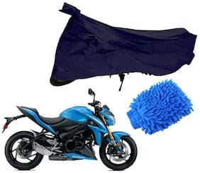 Riderscart Blue T 190 Two Wheeler Bike Cover With Microfiber Dusting Glove Combo For Suzuki Intruder 150