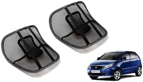 Riderscart Black Mesh Front Seat Premium Quality Back Rest Back Rest with Mesh Support Posture Support & Lumbar Support Pillow;Back Pain Support Cushion Seating Pad For Tata Indica Vista Car