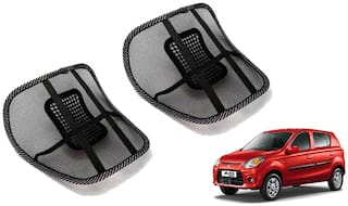 Riderscart Black Mesh Front Seat Premium Quality Back Rest Back Rest with Mesh Support Posture Support & Lumbar Support Pillow;Back Pain Support Cushion Seating Pad For Maruti Suzuki Alto 800 Car