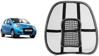 Riderscart Black Mesh Front Seat Premium Quality Back Rest Back Rest with Mesh Support Posture Support & Lumbar Support Pillow;Back Pain Support Cushion Seating Pad For Hyundai Accent Car (Pack of 1)