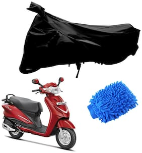 Riderscart Black T 190 Two Wheeler Bike Cover With Microfiber Dusting Glove Combo For Hero Duet