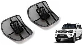 Riderscart Black Mesh Front Seat Premium Quality Back Rest Back Rest with Mesh Support Posture Support & Lumbar Support Pillow;Back Pain Support Cushion Seating Pad For Mahindra Scorpio Car
