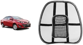 Riderscart Black Mesh Front Seat Premium Quality Back Rest Back Rest with Mesh Support Posture Support & Lumbar Support Pillow;Back Pain Support Cushion Seating Pad For Toyota Yaris Car (Pack of 1)
