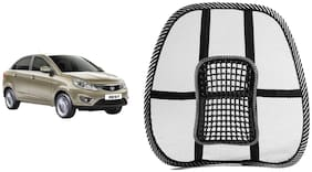 Riderscart Black Mesh Front Seat Premium Quality Back Rest Back Rest with Mesh Support Posture Support & Lumbar Support Pillow;Back Pain Support Cushion Seating Pad For Tata Zest Car (Pack of 1)