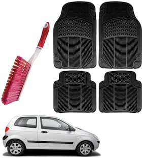 Riderscart Car Foot Mat Floor Mate Black PVC Rubber Perfect Fit For Hyundai Getz (Black) With Free Cleaning Brush Hard & Long Bristles For Car Seat / Carpet / Mats