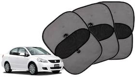 Riderscart Cotton Fabric Car Window Sunshades With Vacuum Cups;Large;Foldable Black Car Sun Shades - Set of 6 For Maruti Suzuki SX4 Car