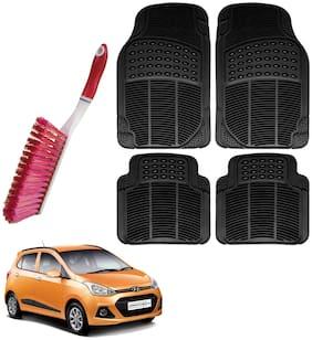 Riderscart Car Foot Mat Floor Mate Black PVC Rubber Perfect Fit For Hyundai i10 Grand (Black) With Free Cleaning Brush Hard & Long Bristles For Car Seat / Carpet / Mats