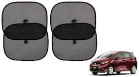 Riderscart Cotton Fabric Car Window Sunshades With Vacuum Cups;Large;Foldable Black Car Sun Shades - Set of 4 For Honda Jazz Car