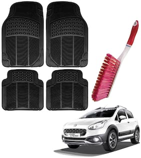 Riderscart Car Foot Mat Floor Mate Black PVC Rubber Perfect Fit For Fiat Urban Cross (Black) With Free Cleaning Brush Hard & Long Bristles For Car Seat / Carpet / Mats