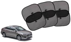 Riderscart Cotton Fabric Car Window Sunshades With Vacuum Cups;Large;Foldable Black Car Sun Shades - Set of 6 For Hyundai Verna Car