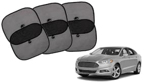 Riderscart Cotton Fabric Car Window Sunshades With Vacuum Cups;Large;Foldable Black Car Sun Shades - Set of 6 For Ford Fusion Car
