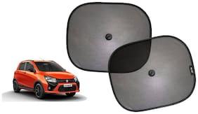 Riderscart Cotton Fabric Car Window Sunshades With Vacuum Cups;Large;Foldable Black Car Sun Shades - Set of 2 For Maruti Suzuki CelerioX Car