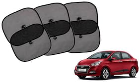 Riderscart Cotton Fabric Car Window Sunshades With Vacuum Cups;Large;Foldable Black Car Sun Shades - Set of 6 For Hyundai Xcent Car
